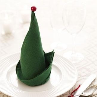 21 servet de masa in forma de palarie de elf